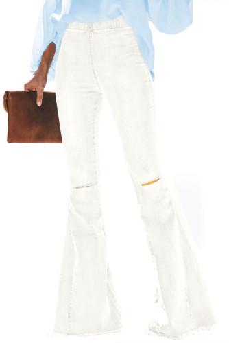 White Distressed Bell Bottom Denim Pants LC786191-1