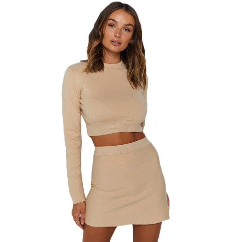 Apricot Long Sleeve Crop Skirt Set Sweater TQK710117-18