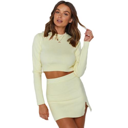 Light Yellow Long Sleeve Crop Skirt Set Sweater TQK710117-42