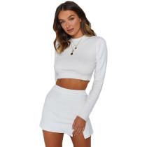 White Long Sleeve Crop Skirt Set Sweater TQK710117-1