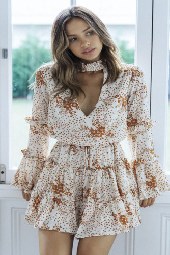 Beige Hollow Out Neck Ruffled Layered Tiered Floral Print Mini Dress LC221424-15