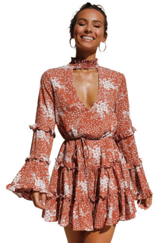 Hollow Out Neck Ruffled Layered Tiered Floral Print Mini Dress LC221424-3