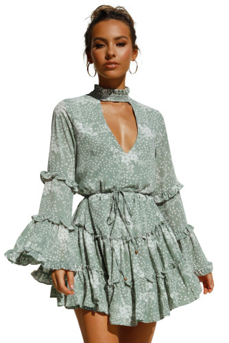 Green Hollow Out Neck Ruffled Layered Tiered Floral Print Mini Dress LC221424-9