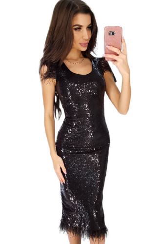 Elegant Sequined Feather Little Black Dress LC611849-2