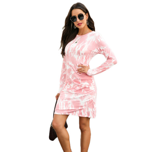 Light Pink Tie Dye Print Long Sleeve Dress TQK310360-39