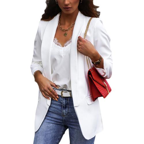 White Double Layer OL Style Lady Blazer TQK260040-1