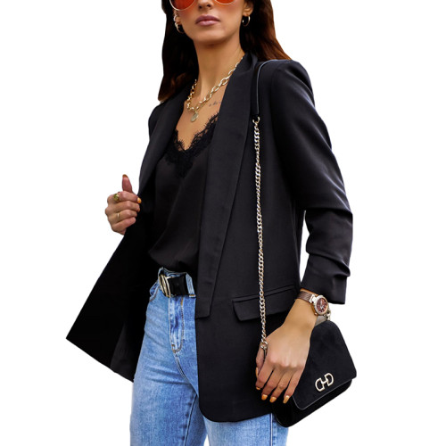 Black Double Layer OL Style Lady Blazer TQK260040-2