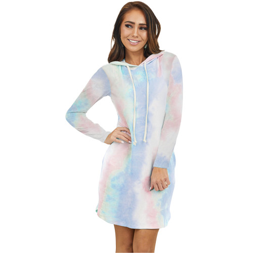Light Blue Tie Dye Print Drawstring Hooded Dress TQK310361-30