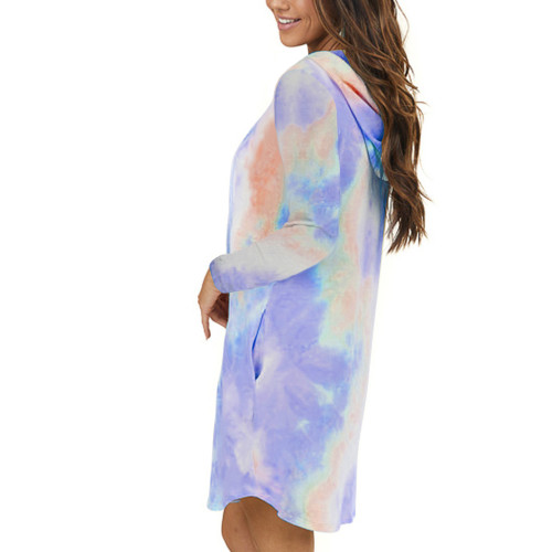 Light Purple Tie Dye Print Drawstring Hooded Dress TQK310361-38