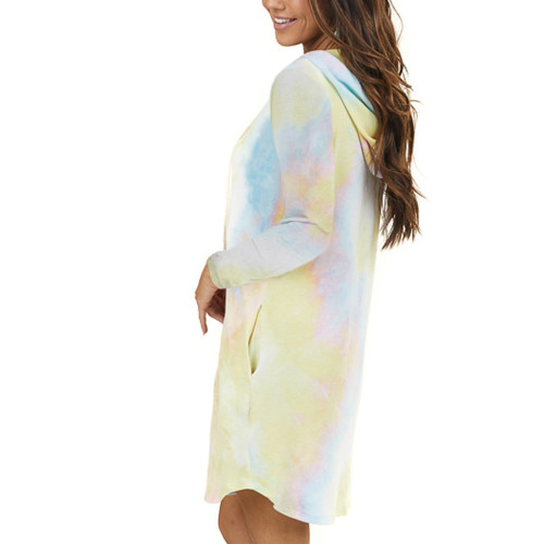 Light Yellow Tie Dye Print Drawstring Hooded Dress TQK310361-42