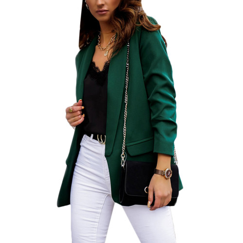 Dark Green Double Layer OL Style Lady Blazer TQK260040-36