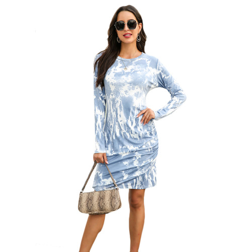 Navy Blue Tie Dye Print Long Sleeve Dress TQK310360-34