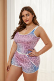 Multicolor Ombre Heart Print Plus Size Tank and Short Set LC43189-22