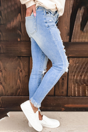 Light Blue Washed Ripped Jeans LC78038-4