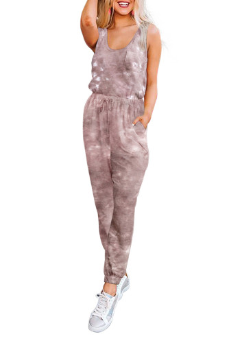 Red Tie Dye Drawstring Jogging Jumpsuit LC64783-3