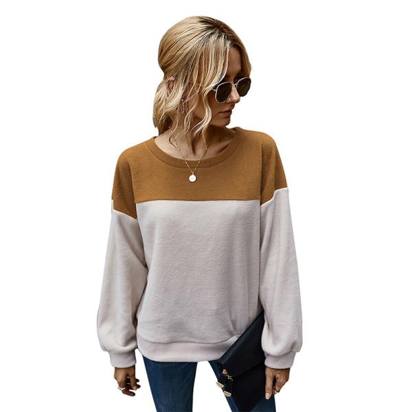 Brown Colorblock Polar Fleece Pullover Sweatshirt TQK230145-17