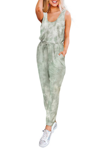 Green Tie Dye Drawstring Jogging Jumpsuit LC64783-9