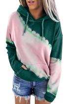 Green Hooded Tie Dye Print Pocket Casual Sweatshirt LC253838-9