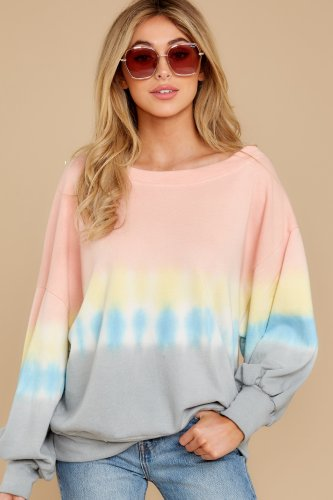 Pink Tie Dye Colorblock Pullover Sweatshirt TQB254301-10