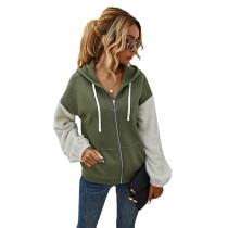 Army Green Colorblock Zipper Up Pocket Style Coat TQK280051-27