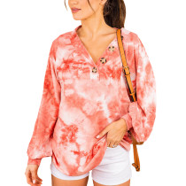 Rust Red Button Neckline Tie Dye Hoodie TQK230152-33