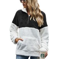 Black Colorblock Kangaroo Pocket Zip Collar Sweatshirt TQK230157-2
