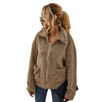 Khaki Zipper Up Coat with Pockets TQK280050-21