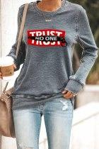 TRUST NO ON Graphic Print Gray Sweatshirt LC2531216-11