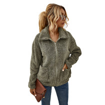 Army Green Zipper Up Coat with Pockets TQK280050-27