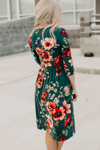 Green Floral 3/4 Sleeve Wrap Dress LC612075-9