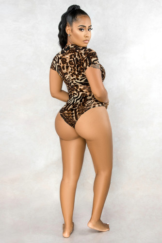 Animal Print Mesh Sheer Bodysuit LC32408-20