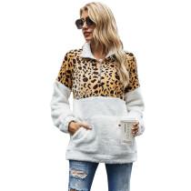 Leopard Colorblock Kangaroo Pocket Zip Collar Sweatshirt TQK230157-20
