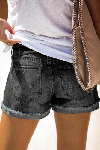 Distressed Ripped Rolled Hem Black Denim Shorts LC77173-2