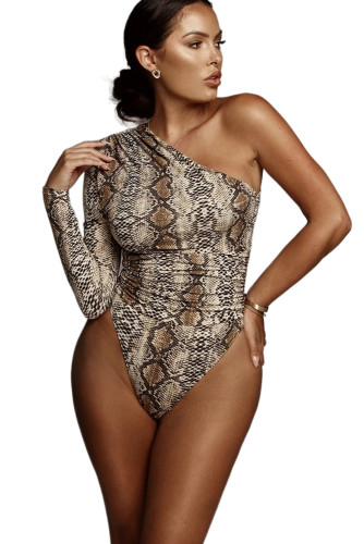 Snake Print One-shoulder Bodysuit LC32418-17