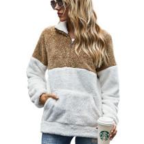 Khaki Colorblock Kangaroo Pocket Zip Collar Sweatshirt TQK230157-21