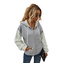 Gray Colorblock Zipper Up Pocket Style Coat TQK280051-11