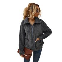 Dark Gray Zipper Up Coat with Pockets TQK280050-26