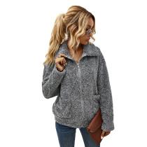 Grey Zipper Up Coat with Pockets TQK280050-11