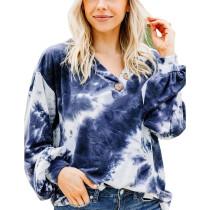 Blue Button Neckline Tie Dye Hoodie TQK230152-5