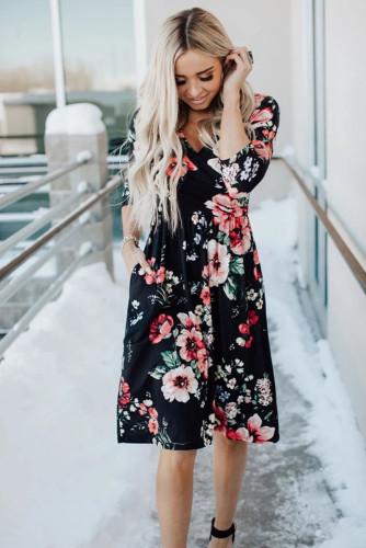 Black Floral 3/4 Sleeve Wrap Dress LC612075-2