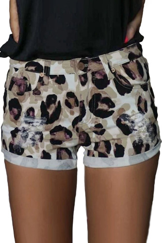 Taupe Leopard Distressed Shorts LC78090-20
