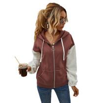 Rust Red Colorblock Zipper Up Pocket Style Coat TQK280051-33