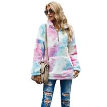 Pink Kangaroo Pocket Zip Collar Tie Dye  Sweatshirt TQK230157-10