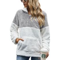 Light Gray Colorblock Kangaroo Pocket Zip Collar Sweatshirt TQK230157-25