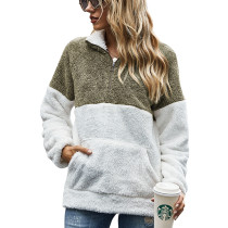 Army Green Colorblock Kangaroo Pocket Zip Collar Sweatshirt TQK230157-27