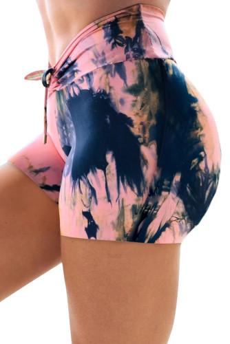 Pink High Waist Tie-dye Print Sports Shorts LC263203-10