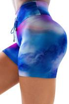 Sky Blue High Waist Tie-dye Print Sports Shorts LC263203-4