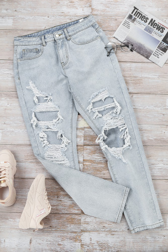Vintage Washed Distressed Holes High Waist Jeans LC78039-4
