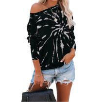 Black Tie Dye Printed Loose Long Sleeve Sweatshirt TQK230161-2