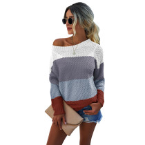 Gray Colorblock Lightweight Pullover Sweater TQK271130-11